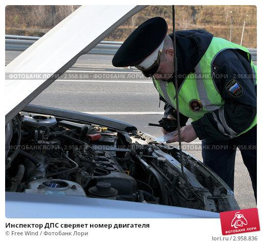 Купить «Инспектор ДПС сверяет номер двигателя», эксклюзивное фото № 2958836, снято 14 октября 2011 г. (c) Free Wind / Фотобанк Лори