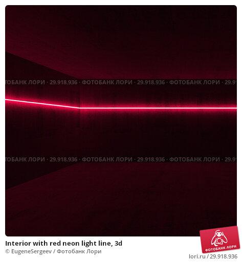 Купить «Interior with red neon light line, 3d», иллюстрация № 29918936 (c) EugeneSergeev / Фотобанк Лори