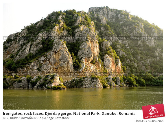 Iron gates, rock faces, Djerdap gorge, National Park, Danube, Romania. Стоковое фото, фотограф R. Kunz / age Fotostock / Фотобанк Лори