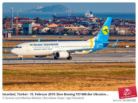 Istanbul, Türkei - 15. Februar 2019: Eine Boeing 737-800 der Ukraine... Стоковое фото, фотограф Zoonar.com/Markus Mainka / age Fotostock / Фотобанк Лори