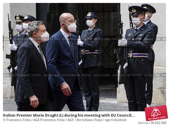 Italian Premier Mario Draghi (L) during his meeting with EU Council... Редакционное фото, фотограф Francesco Fotia / AGF/Francesco Fotia / AGF / age Fotostock / Фотобанк Лори