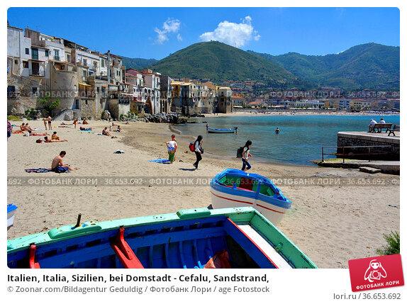 Italien, Italia, Sizilien, bei Domstadt - Cefalu, Sandstrand, Стоковое фото, фотограф Zoonar.com/Bildagentur Geduldig / age Fotostock / Фотобанк Лори