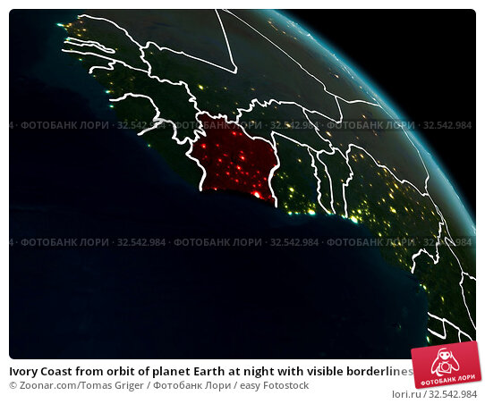 Купить «Ivory Coast from orbit of planet Earth at night with visible borderlines and city lights. 3D illustration. Elements of this image furnished by NASA.», фото № 32542984, снято 16 декабря 2019 г. (c) easy Fotostock / Фотобанк Лори