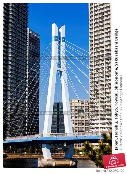 Japan, Honshu, Tokyo, Toyosu, Shinonome, Sakurabashi Bridge. Стоковое фото, фотограф Steve Vidler / age Fotostock / Фотобанк Лори