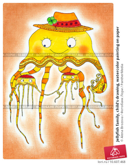 Jellyfish family, child's drawing, watercolor painting on paper. Стоковая иллюстрация, иллюстратор Alena Brozova / PantherMedia / Фотобанк Лори