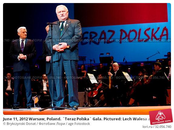 June 11, 2012 Warsaw, Poland. `Teraz Polska` Gala. Pictured: Lech Walesa and Jerzy Buzek. Редакционное фото, фотограф Brykczynski Donat / age Fotostock / Фотобанк Лори