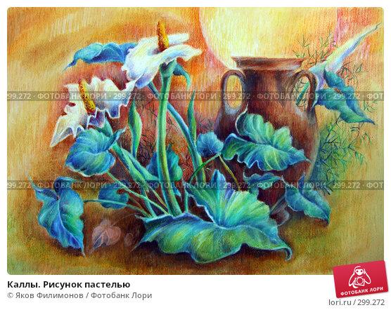 Каллы. Рисунок пастелью, фото № 299272, снято 20 июля 2007 г. (c) Яков Филимонов / Фотобанк Лори