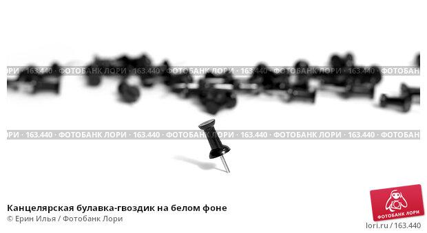 Канцелярская булавка-гвоздик на белом фоне, фото № 163440, снято 30 декабря 2007 г. (c) Ерин Илья / Фотобанк Лори