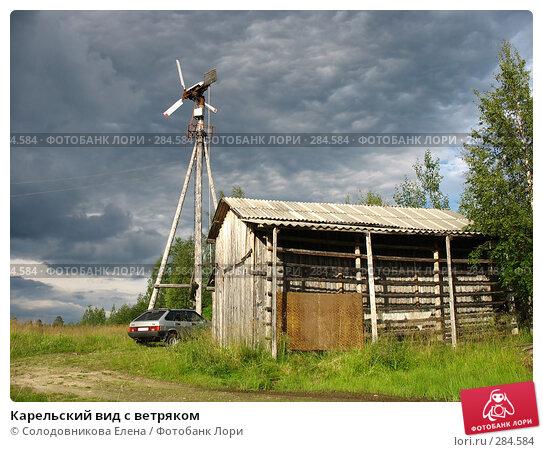 Карельский вид с ветряком, фото № 284584, снято 5 августа 2007 г. (c) Солодовникова Елена / Фотобанк Лори