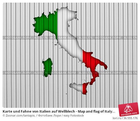 Karte und Fahne von Italien auf Wellblech - Map and flag of Italy... Стоковое фото, фотограф Zoonar.com/lantapix, / easy Fotostock / Фотобанк Лори