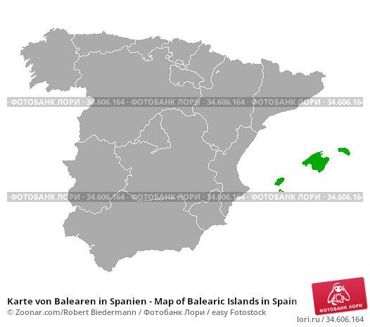Karte von Balearen in Spanien - Map of Balearic Islands in Spain. Стоковое фото, фотограф Zoonar.com/Robert Biedermann / easy Fotostock / Фотобанк Лори
