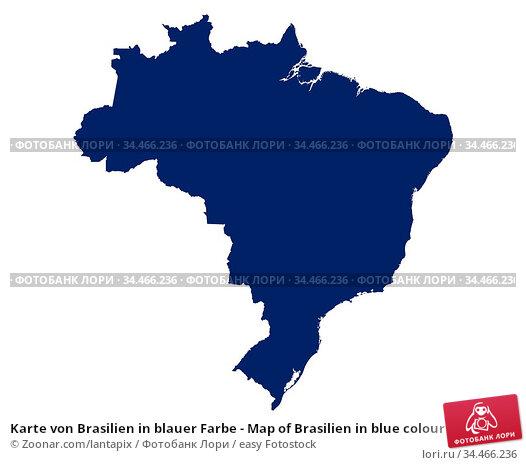 Karte von Brasilien in blauer Farbe - Map of Brasilien in blue colour. Стоковое фото, фотограф Zoonar.com/lantapix / easy Fotostock / Фотобанк Лори