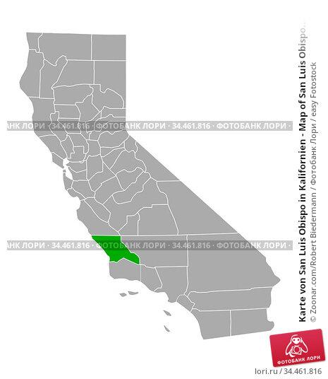 Karte von San Luis Obispo in Kalifornien - Map of San Luis Obispo... Стоковое фото, фотограф Zoonar.com/Robert Biedermann / easy Fotostock / Фотобанк Лори