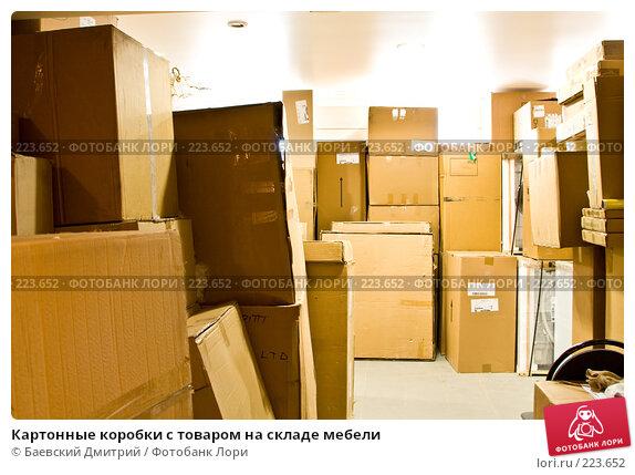 Купить «Картонные коробки с товаром на складе мебели», фото № 223652, снято 22 апреля 2018 г. (c) Баевский Дмитрий / Фотобанк Лори