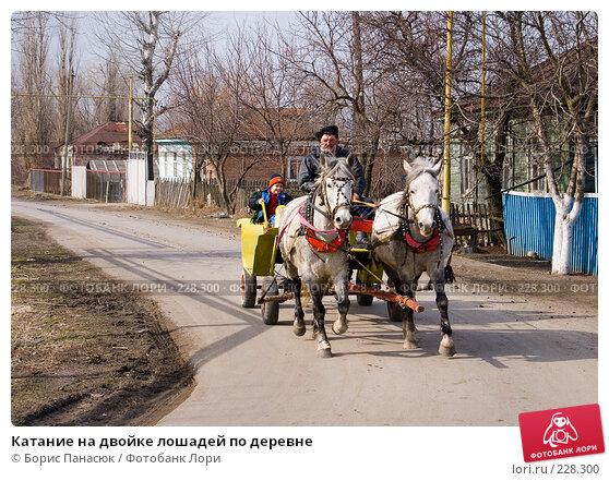 Катание на двойке лошадей по деревне, фото № 228300, снято 8 марта 2008 г. (c) Борис Панасюк / Фотобанк Лори
