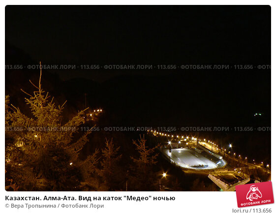 """Казахстан. Алма-Ата. Вид на каток """"Медео"""" ночью, фото № 113656, снято 27 марта 2017 г. (c) Вера Тропынина / Фотобанк Лори"""