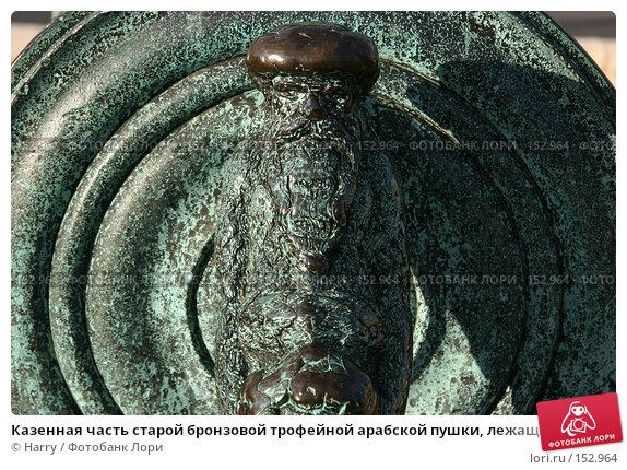 Казенная часть старой бронзовой трофейной арабской пушки, лежащей у входа в Военный Музей, Париж, Франция, фото № 152964, снято 28 февраля 2006 г. (c) Harry / Фотобанк Лори