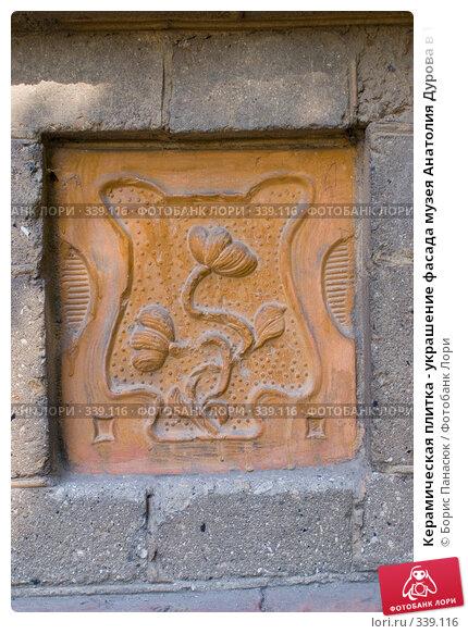 Керамическая плитка - украшение фасада музея Анатолия Дурова в Таганроге, фото № 339116, снято 21 июня 2008 г. (c) Борис Панасюк / Фотобанк Лори