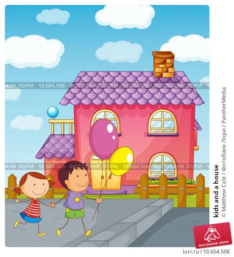 kids and a house. Стоковая иллюстрация, иллюстратор Matthew Cole / PantherMedia / Фотобанк Лори