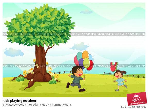 kids playing outdoor. Стоковая иллюстрация, иллюстратор Matthew Cole / PantherMedia / Фотобанк Лори
