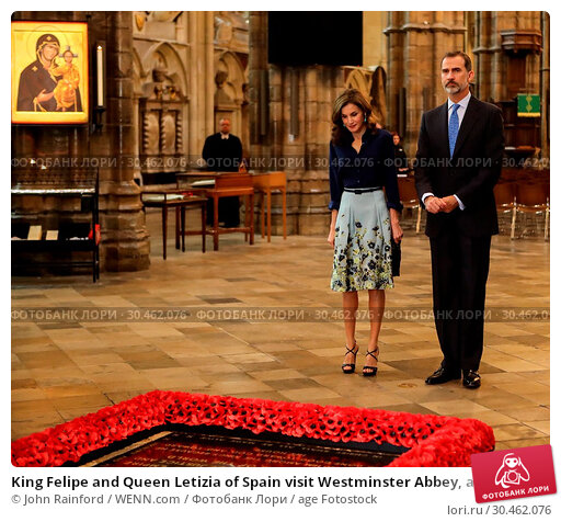 King Felipe and Queen Letizia of Spain visit Westminster Abbey, accompanied... (2017 год). Редакционное фото, фотограф John Rainford / WENN.com / age Fotostock / Фотобанк Лори