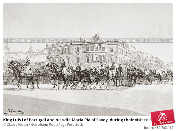 Купить «King Luis I of Portugal and his wife Maria Pia of Savoy, during their visit to Madrid, Spain in 1887. From La Ilustracion Artistica, published 1887.», фото № 30703112, снято 7 февраля 2019 г. (c) age Fotostock / Фотобанк Лори