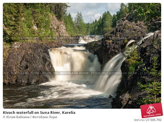 Купить «Kivach waterfall on Suna River, Karelia», фото № 27505792, снято 8 июня 2014 г. (c) Юлия Бабкина / Фотобанк Лори