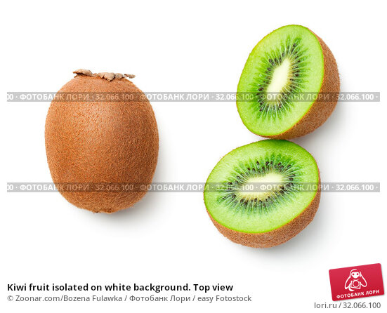Kiwi fruit isolated on white background. Top view. Стоковое фото, фотограф Zoonar.com/Bozena Fulawka / easy Fotostock / Фотобанк Лори