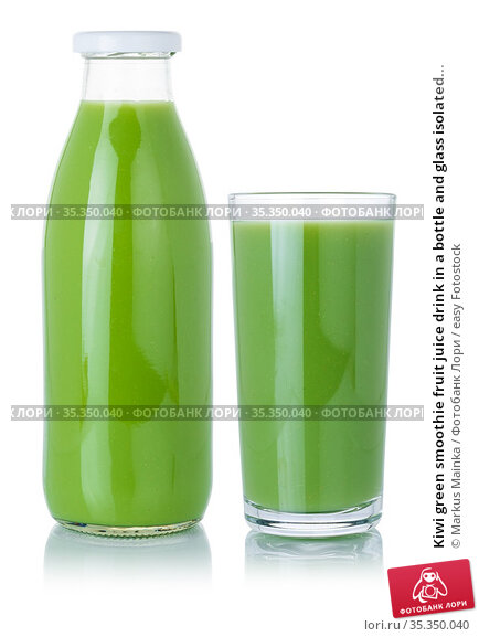 Kiwi green smoothie fruit juice drink in a bottle and glass isolated... Стоковое фото, фотограф Markus Mainka / easy Fotostock / Фотобанк Лори