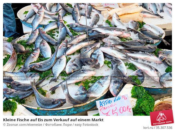 Kleine Fische auf Eis zum Verkauf auf einem Markt. Стоковое фото, фотограф Zoonar.com/elxeneize / easy Fotostock / Фотобанк Лори