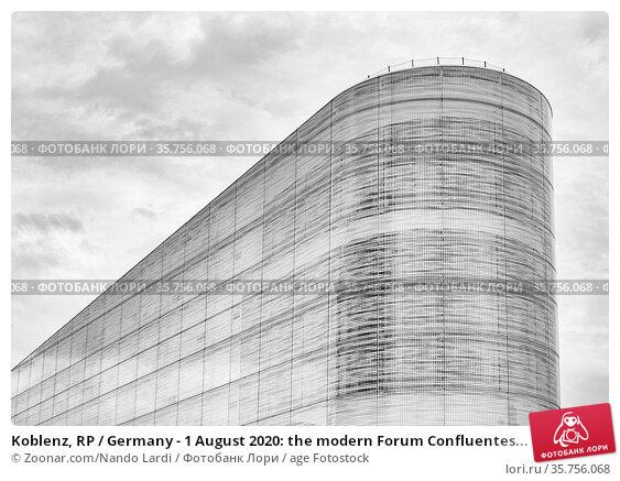 Koblenz, RP / Germany - 1 August 2020: the modern Forum Confluentes... Стоковое фото, фотограф Zoonar.com/Nando Lardi / age Fotostock / Фотобанк Лори