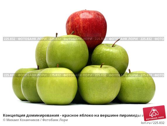 Купить «Концепция доминирования - красное яблоко на вершине пирамиды из зеленых яблок», фото № 225832, снято 16 марта 2008 г. (c) Михаил Коханчиков / Фотобанк Лори