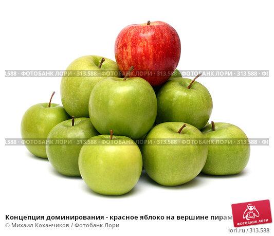 Концепция доминирования - красное яблоко на вершине пирамиды из зеленых яблок, фото № 313588, снято 16 марта 2008 г. (c) Михаил Коханчиков / Фотобанк Лори