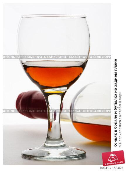 Коньяк в бокале и бутылка на заднем плане, фото № 182824, снято 19 января 2008 г. (c) Олег Селезнев / Фотобанк Лори
