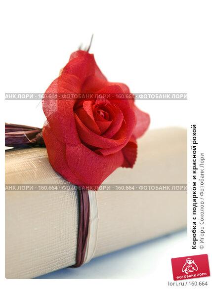 Купить «Коробка с подарком и красной розой», фото № 160664, снято 25 апреля 2018 г. (c) Игорь Соколов / Фотобанк Лори