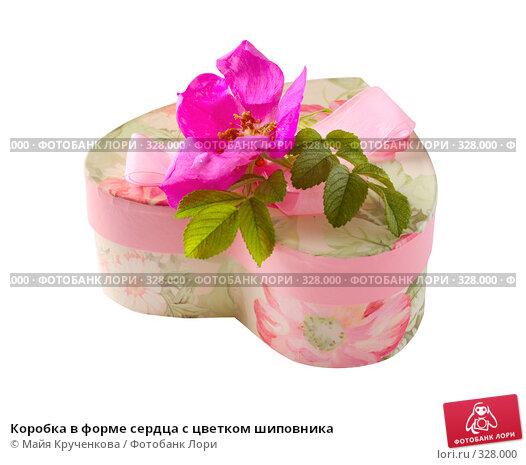 Купить «Коробка в форме сердца с цветком шиповника», фото № 328000, снято 17 июня 2008 г. (c) Майя Крученкова / Фотобанк Лори