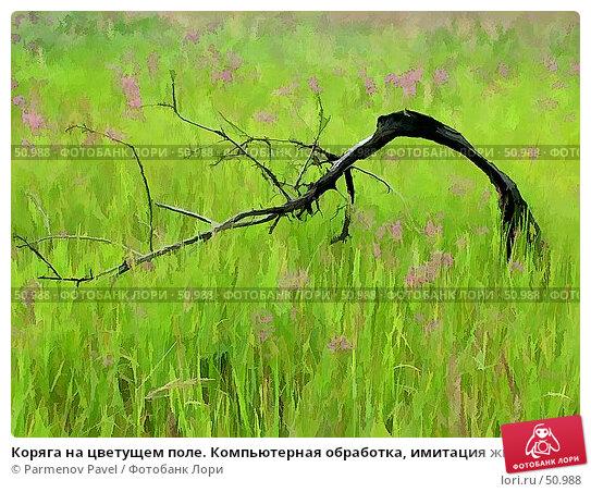 Коряга на цветущем поле. Компьютерная обработка, имитация живописи, фото № 50988, снято 16 июля 2006 г. (c) Parmenov Pavel / Фотобанк Лори