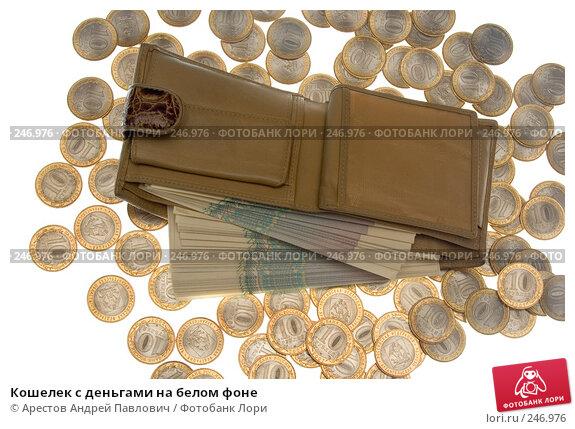 Кошелек с деньгами на белом фоне, фото № 246976, снято 3 февраля 2008 г. (c) Арестов Андрей Павлович / Фотобанк Лори