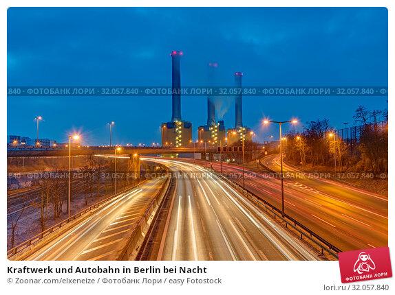 Kraftwerk und Autobahn in Berlin bei Nacht. Стоковое фото, фотограф Zoonar.com/elxeneize / easy Fotostock / Фотобанк Лори