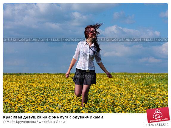 Красивая девушка на фоне луга с одуванчиками, фото № 313512, снято 14 мая 2008 г. (c) Майя Крученкова / Фотобанк Лори