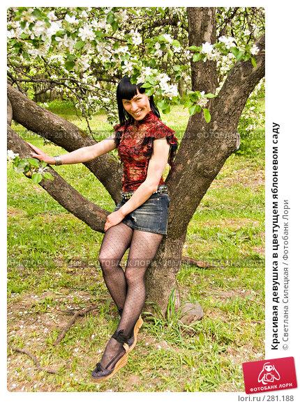 Красивая девушка в цветущем яблоневом саду, фото № 281188, снято 12 мая 2008 г. (c) Светлана Силецкая / Фотобанк Лори