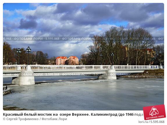 Купить «Красивый белый мостик на  озере Верхнее. Калининград (до 1946 года Кёнигсберг), Россия», фото № 5595068, снято 3 марта 2013 г. (c) Сергей Трофименко / Фотобанк Лори