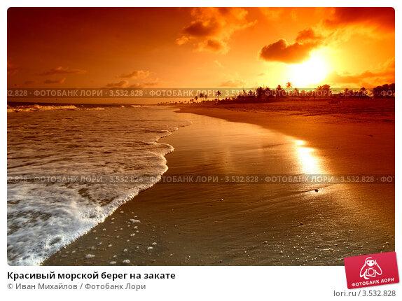 Красивый морской берег на закате, фото № 3532828, снято 4 января 2009 г. (c) Иван Михайлов / Фотобанк Лори