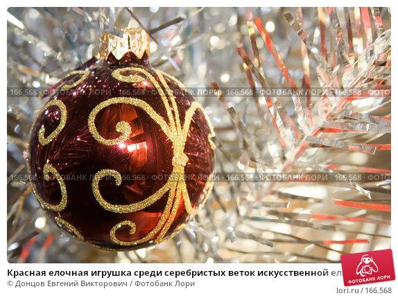 Красная елочная игрушка среди серебристых веток искусственной елки, фото № 166568, снято 5 января 2008 г. (c) Донцов Евгений Викторович / Фотобанк Лори