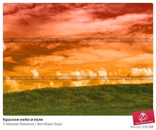 Красное небо и поле, фото № 318508, снято 3 июля 2007 г. (c) Максим Пименов / Фотобанк Лори