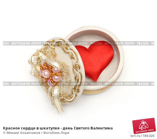 Купить «Красное сердце в шкатулке - день Святого Валентина», фото № 184024, снято 20 января 2008 г. (c) Михаил Коханчиков / Фотобанк Лори