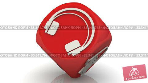 Купить «Красный кубик с символами бытовой электронной техники», видеоролик № 33341768, снято 8 марта 2020 г. (c) WalDeMarus / Фотобанк Лори