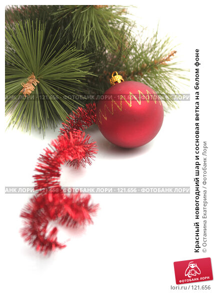 Красный  новогодний шар и сосновая ветка на белом фоне, фото № 121656, снято 31 октября 2007 г. (c) Останина Екатерина / Фотобанк Лори