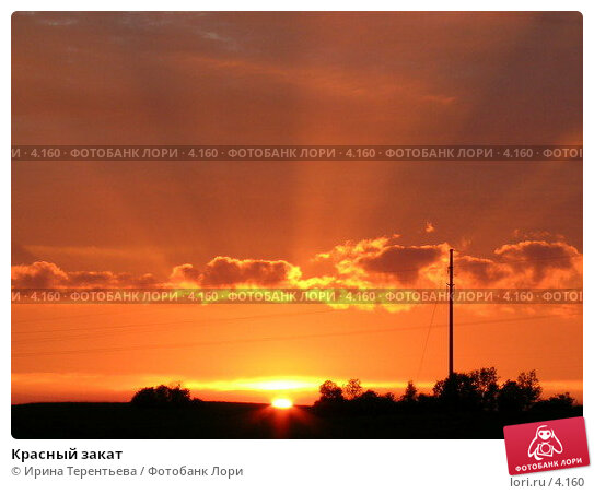 Красный закат, фото № 4160, снято 21 августа 2004 г. (c) Ирина Терентьева / Фотобанк Лори