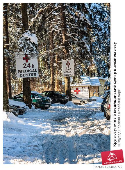 Купить «Круглосуточный медицинский центр в зимнем лесу», фото № 25063772, снято 1 января 2012 г. (c) Эдуард Паравян / Фотобанк Лори